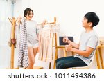 young asian lover couple... | Shutterstock . vector #1011494386