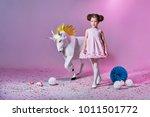 romantic little girl in... | Shutterstock . vector #1011501772
