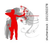 archer with bow woman archery... | Shutterstock .eps vector #1011502378