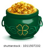 green full pot with gold coins. ... | Shutterstock .eps vector #1011507232