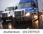 heavy traffic with big rig semi ... | Shutterstock . vector #1011507415