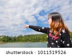 happy girl with sky and... | Shutterstock . vector #1011519526