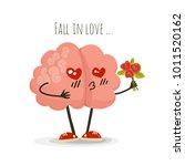 brain in love  cartoon... | Shutterstock . vector #1011520162