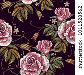 embroidery roses seamless... | Shutterstock .eps vector #1011528562