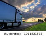 truck transportation on the road | Shutterstock . vector #1011531538