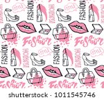 hand drawn doodle fashion... | Shutterstock .eps vector #1011545746