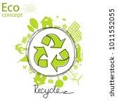 triangular recycling symbol on... | Shutterstock .eps vector #1011552055