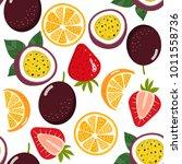 mixed fruit seamless pattern...   Shutterstock .eps vector #1011558736