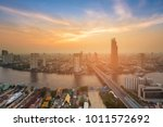 sunset over bangkok city... | Shutterstock . vector #1011572692