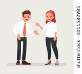 conflict at work. a woman boss... | Shutterstock .eps vector #1011582985
