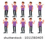 set of male character with... | Shutterstock .eps vector #1011583405