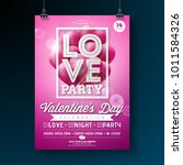 valentines day party flyer... | Shutterstock .eps vector #1011584326