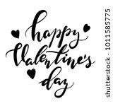 "hand callligraphy card ""happy... | Shutterstock .eps vector #1011585775"