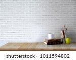 workspace desk with artist... | Shutterstock . vector #1011594802