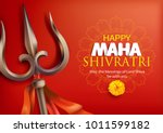 greeting card with trishula for ... | Shutterstock .eps vector #1011599182