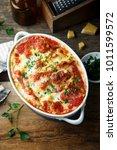 homemade pasta bake with cheese ... | Shutterstock . vector #1011599572