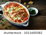 homemade pasta bake with cheese ... | Shutterstock . vector #1011600382