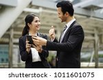 the happy business man and...   Shutterstock . vector #1011601075
