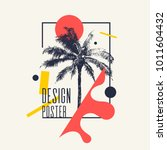 vintage poster with palm tree...   Shutterstock .eps vector #1011604432