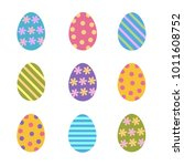 set of colorful easter eggs... | Shutterstock .eps vector #1011608752