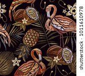 embroidery vintage flamingo  ... | Shutterstock .eps vector #1011610978