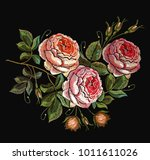 Stock vector roses embroidery seamless pattern 1011611026