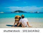 romantic scene of young love... | Shutterstock . vector #1011614362