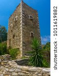a tower in mani in greece. the... | Shutterstock . vector #1011619882