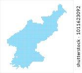 pixel mosaic blue dot map on... | Shutterstock .eps vector #1011623092