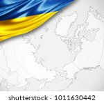 ukraine flag of silk  and world ... | Shutterstock . vector #1011630442