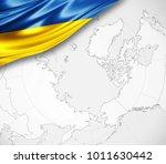 ukraine flag of silk  and world ... | Shutterstock . vector #1011630442