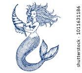 mermaid with big sink... | Shutterstock .eps vector #1011631186