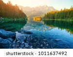 Stock photo fantastic sunrise on mountain lake eibsee located in the bavaria germany dramatic unusual scene 1011637492