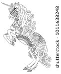 unicorn. hand drawn fantasy... | Shutterstock .eps vector #1011638248