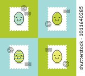 set of postage stamp with...   Shutterstock .eps vector #1011640285