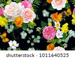 seamless pattern with tender... | Shutterstock .eps vector #1011640525