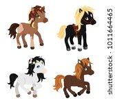 adorable cartoon horses... | Shutterstock .eps vector #1011664465
