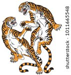 pair of tigers in the battle .... | Shutterstock .eps vector #1011665548