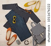 female summer outfit   navy... | Shutterstock . vector #1011676222