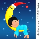cute little boy sleeping on moon | Shutterstock .eps vector #1011678676
