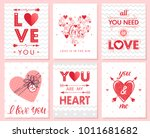 set of creative valentines day... | Shutterstock .eps vector #1011681682