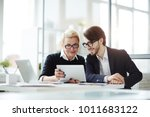 contemporary employees with... | Shutterstock . vector #1011683122