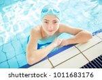 handsome guy in swim cap... | Shutterstock . vector #1011683176