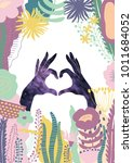 heart hands with colorful... | Shutterstock . vector #1011684052