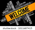 welcome word cloud in different ... | Shutterstock .eps vector #1011687415
