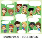 kid walking to school.back to...   Shutterstock .eps vector #1011689032