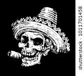 smoking skull in mexican hat... | Shutterstock .eps vector #1011701458
