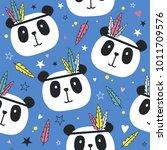 seamless pattern with pandas | Shutterstock .eps vector #1011709576