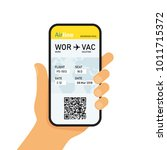 boarding pass in mobile phone.... | Shutterstock .eps vector #1011715372
