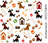 Stock vector seamless background with dogs vector illustration 101171845